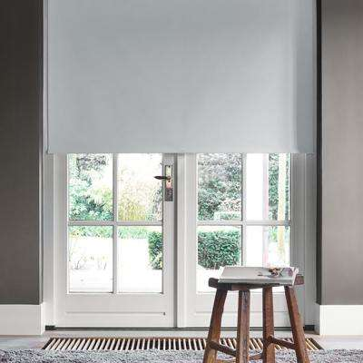 Cut-to-Width Limestone Polyester Blackout Spring Roller Shade -  42.5 in. W x 72 in. L