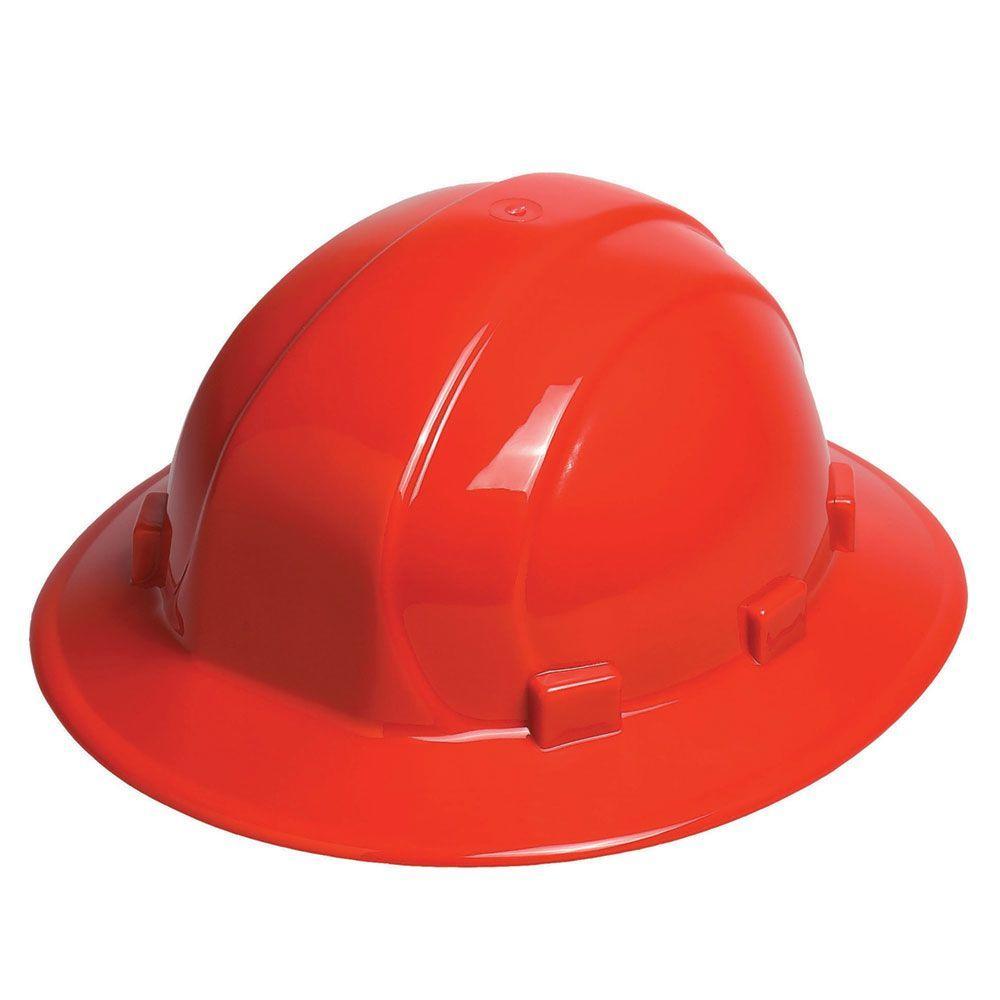 ERB Omega II 6 Point Nylon Suspension Slide-Lock Full Brim Hard Hat in Red