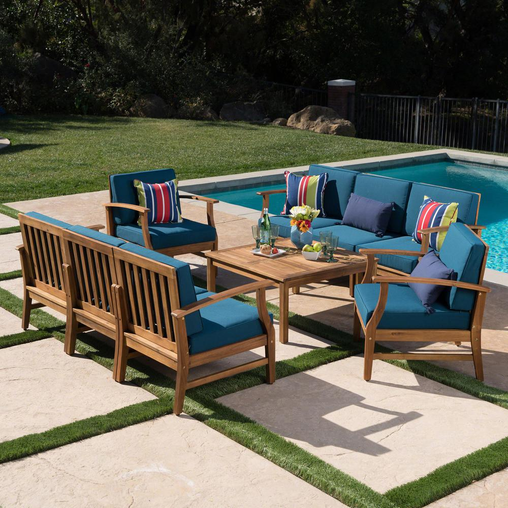 Le House Giancarlo Teak 9 Piece Wood Outdoor Sofa Set With Blue Cushions