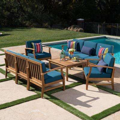 Giancarlo Teak 9-Piece Wood Outdoor Sofa Set with Blue Cushions