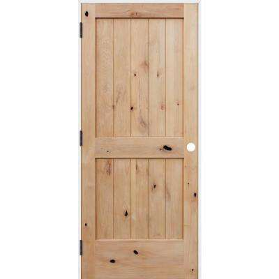 30 in. x 80 in. Rustic Unfinished 2-Panel V-Groove Solid Core Wood Single Prehung Interior Door with Prime Jamb
