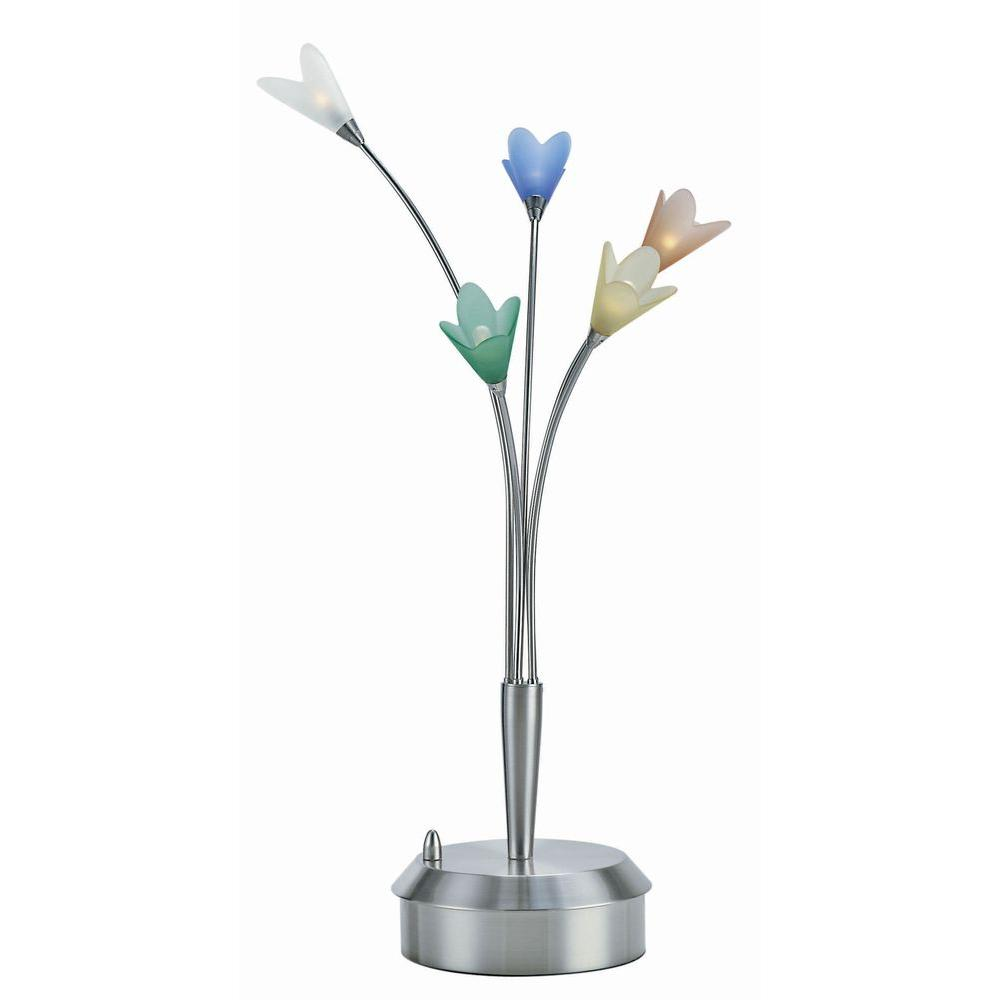Illumine 27 in. Polished Steel Table Lamp with Multi-Colored Glass