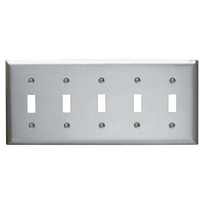 302 Series 5 Gang Toggle Wall Plate in Stainless Steel