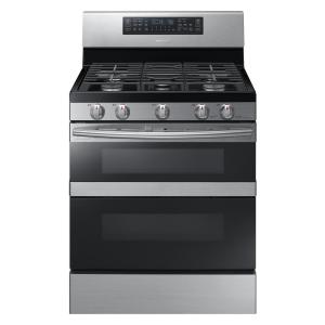 Click here to buy Samsung 30 inch 5.8 cu. ft. Dual Door Gas Range Double Oven with Self-Cleaning and Dual Convection Oven in Stainless Steel by Samsung.