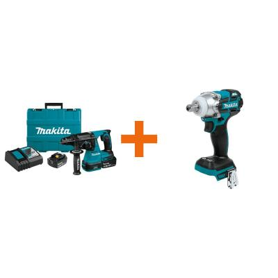 18-Volt LXT 1 in. Brushless Cordless SDS-Plus Rotary Hammer Drill 5.0Ah with Bonus 18V LXT 3-Speed 1/2 in. Impact Wrench