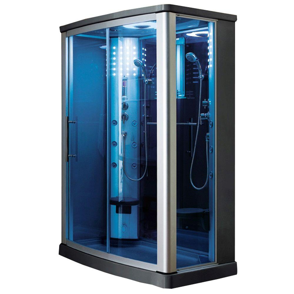 Ariel 55 in. x 35 in. x 85 in. Steam Shower Enclosure Kit in Blue Tempered Glass