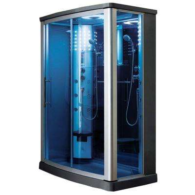 55 in. x 35 in. x 85 in. Steam Shower Enclosure Kit in Blue Tempered Glass