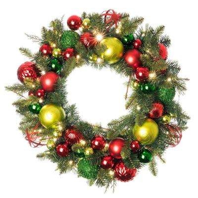 30 in. Pre-Lit LED Festive Holiday Wreath