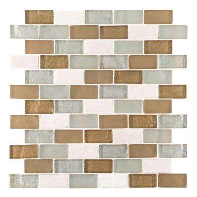 Bellagio Pebble Brown/Tan Brick 12 in. x 12 in. x 8 mm Glass Marble Mesh-Mounted Mosaic Wall Tile