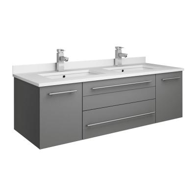 Lucera 48 in. W Wall Hung Bath Vanity in Gray with Quartz Stone Double Sink Vanity Top in White with White Basins