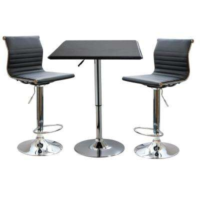 Retro Style Bar Table Set in Black with Adjustable Height Vinyl Table and Chairs (3-Piece)