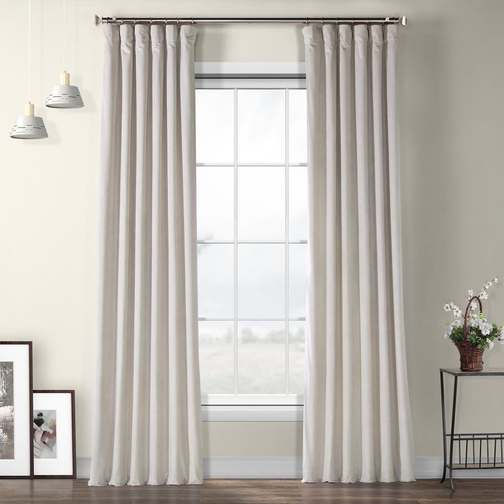 City Grey Heritage Plush Velvet Curtain - 50 in. W x 96 in. L