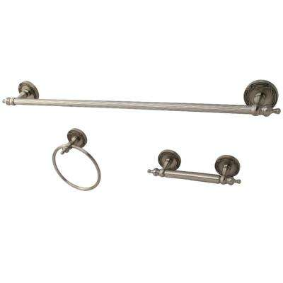 Traditional 3-Piece Bath Hardware Set in Brushed Nickel