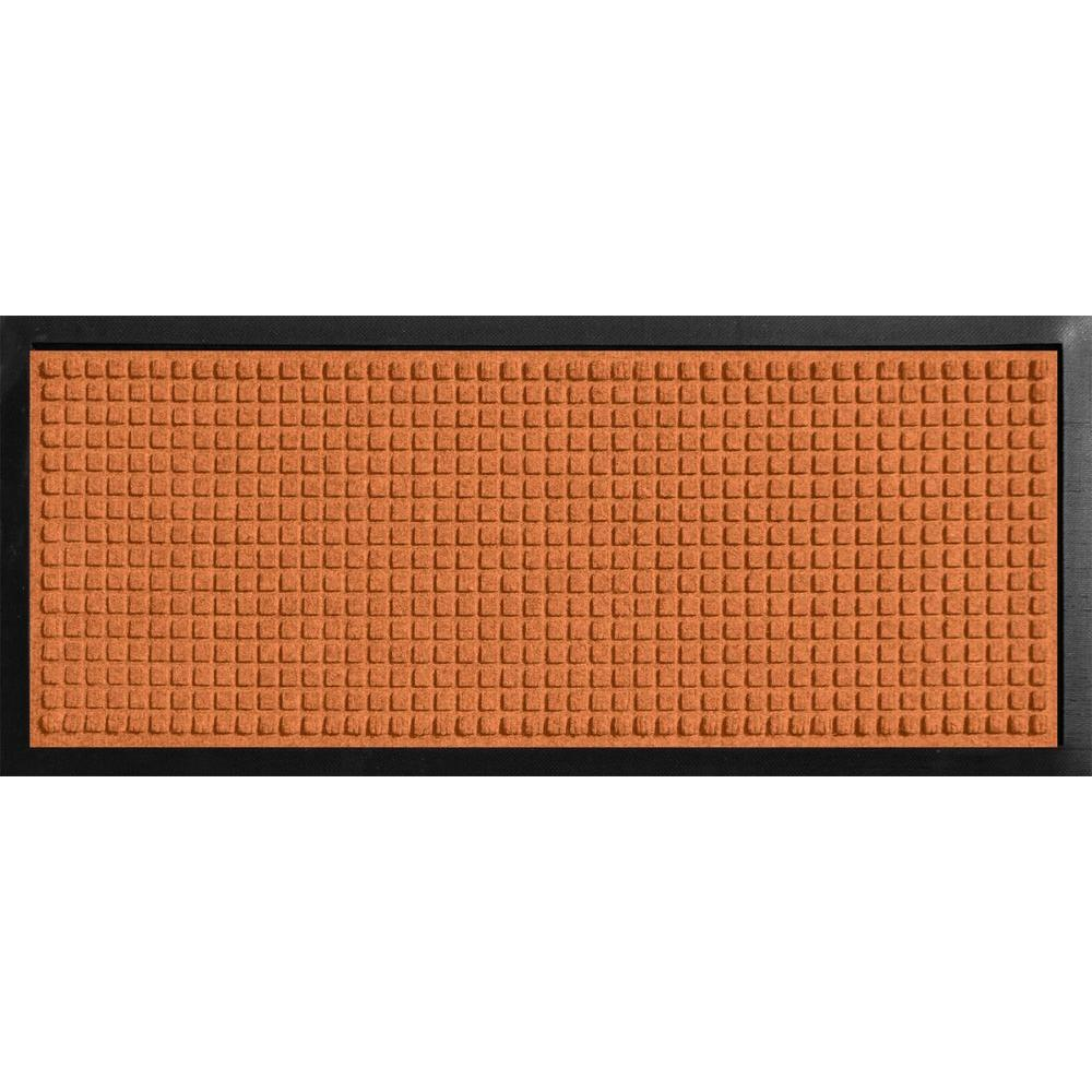 Bungalow Flooring Aqua Shield Boot Tray Squares Orange 15 in. x 36 in. Door Mat