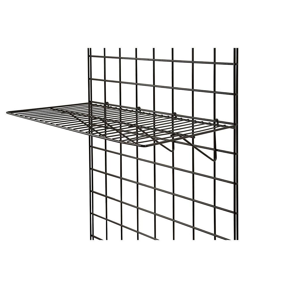 Grid Panel Display Shelf- Straight Shelf for Grid Panel, Black Finish, Wire (Box of 6)