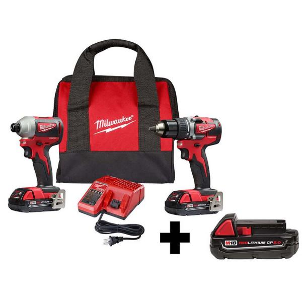 M18 18-Volt Lithium-Ion Brushless Cordless Compact Drill & Impact Driver Combo Kit (2-Tool) with Free 2.0Ah Battery