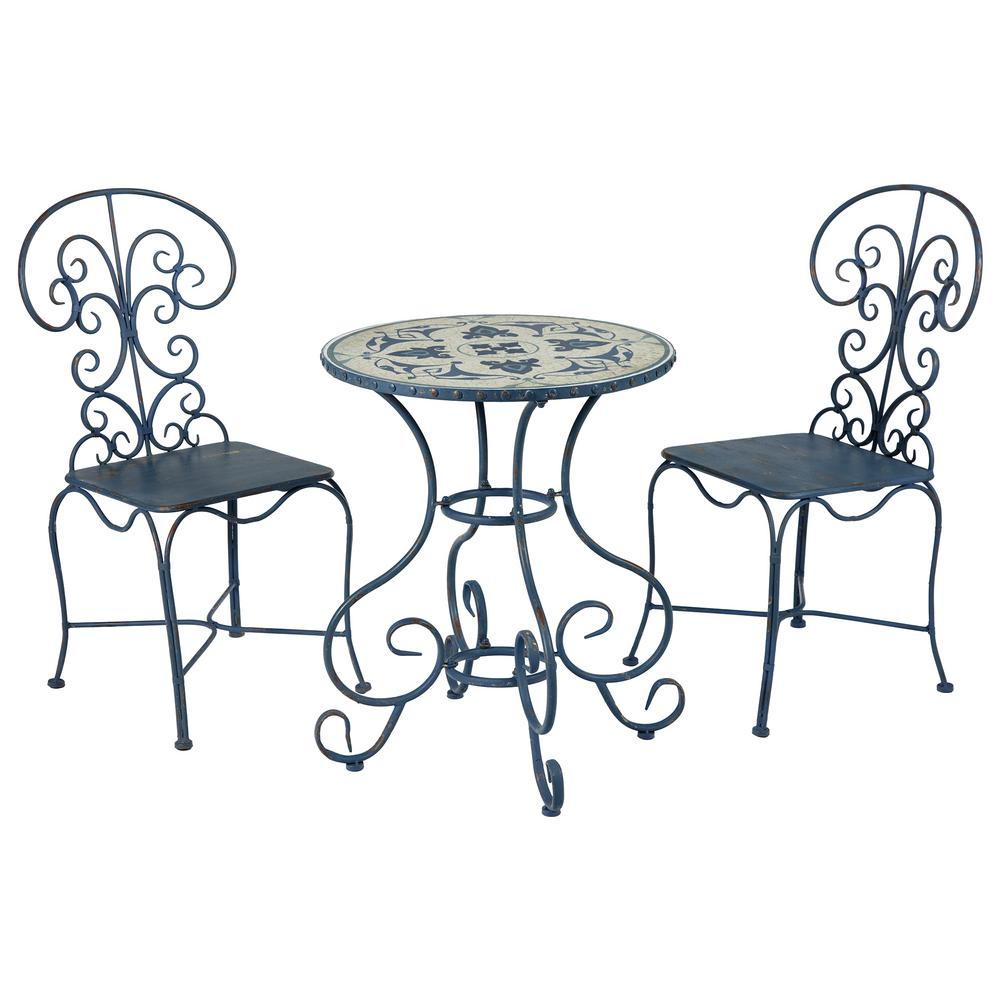 Toulouse 3-Piece Metal Patio Outdoor Bistro Set