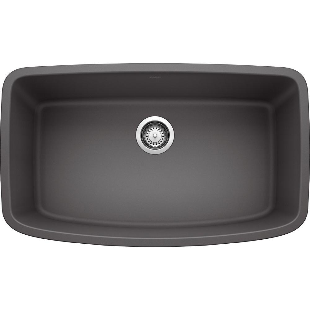 VALEA Undermount Granite Composite 32 in. Single Bowl Kitchen Sink in Cinder