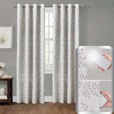Blackout Everly Embroidered 50 in. x 84 in. Smart Curtain Window Curtain Panel in Silver