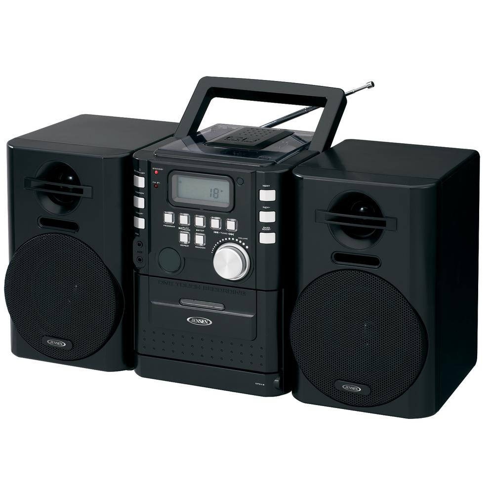 jensen portable cd music system with cassette and fm. Black Bedroom Furniture Sets. Home Design Ideas