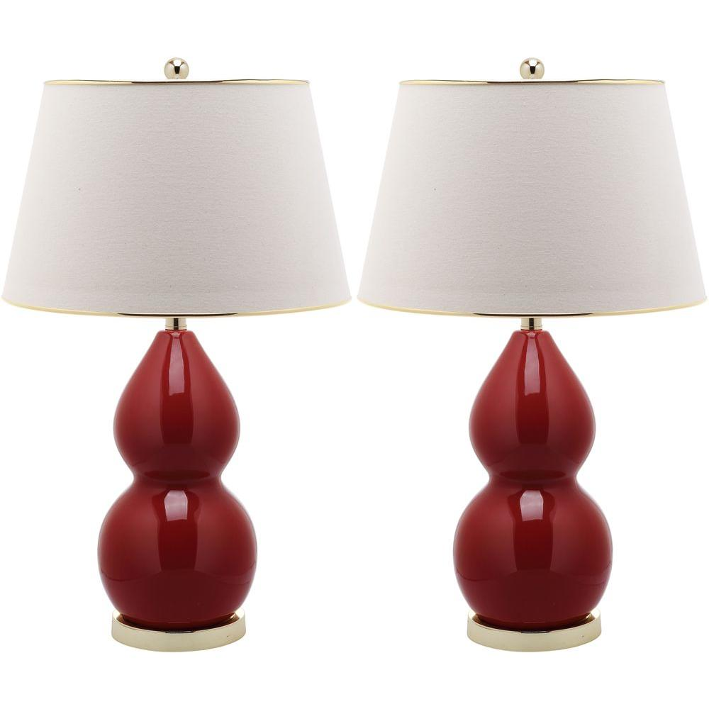 Chinese Red Double Gourd Ceramic Lamp (Set Of