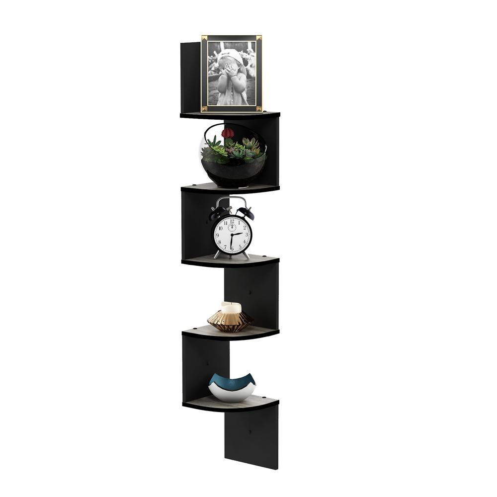 Furinno 5 Tier French Oak Grey/Black Wall Mount Floating Radial Corner Shelf was $47.69 now $25.32 (47.0% off)