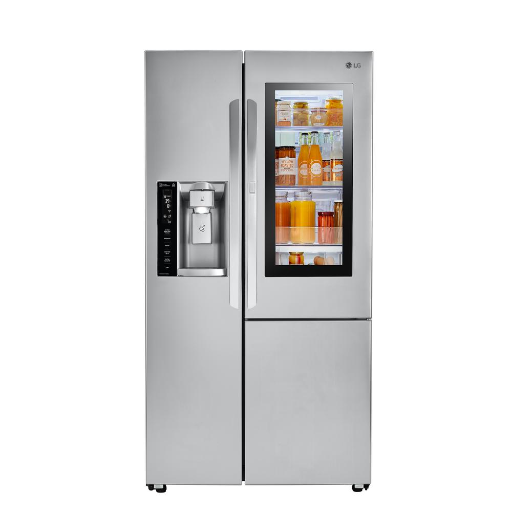 LGElectronics LG Electronics 26.0 cu. ft. Side by Side Smart Refrigerator with InstaView Door-in-Door and Wi-Fi Enabled in Stainless Steel, Silver