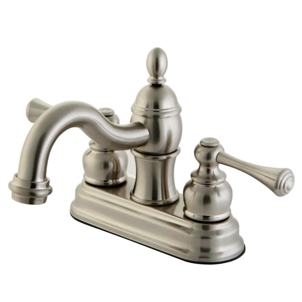 Kingston Brass Vintage 4 in. Centerset 2-Handle Bathroom Faucet in Brushed Nickel