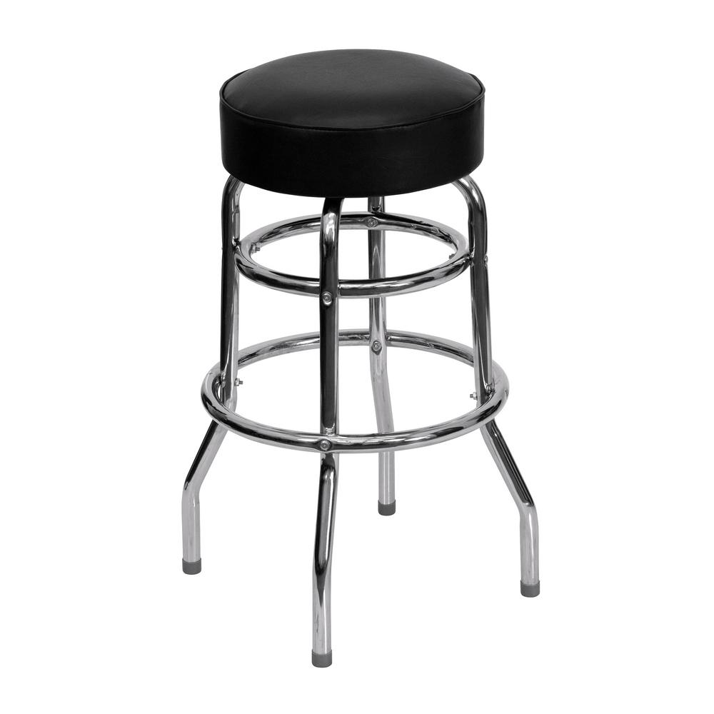 Flash Furniture In Chrome Cushioned Bar Stool Xud100 The Home Depot