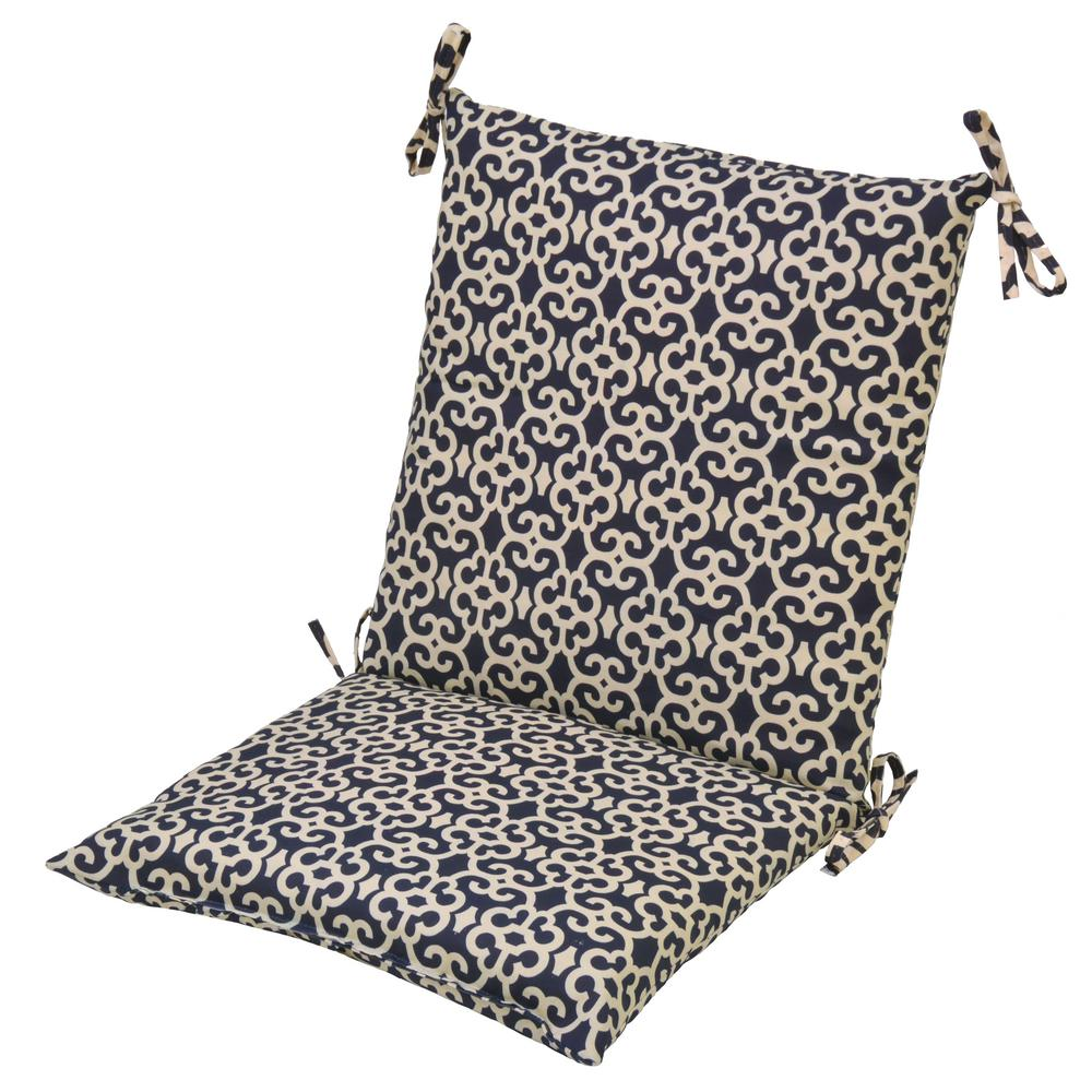 Hampton Bay 20 X 17 Outdoor Dining Chair Cushion In Standard Black Trellis