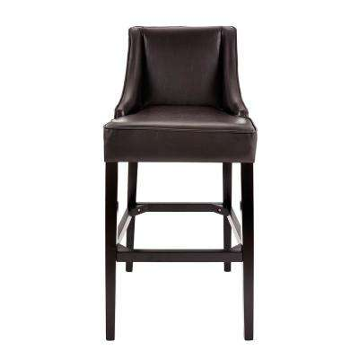 31 in. Brown Cushioned Bar Stool with Back