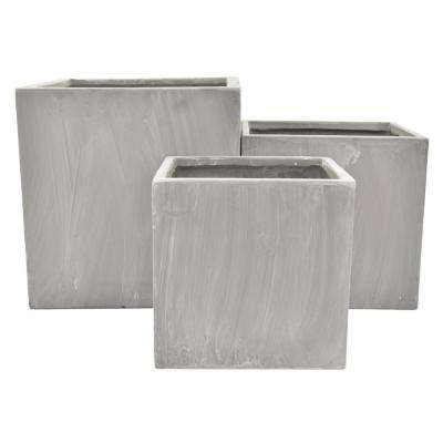 15.5 in. Planters in Gray (Set of 3)