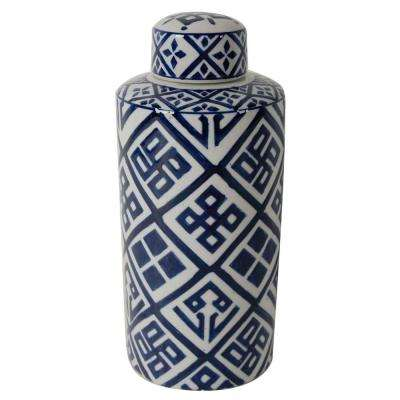 Valora 6 in. x 14 in. Blue and White Decorative Cylinder Vase