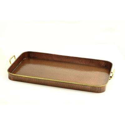24 in. x 15.25 in. x 2 in. Oblong Antique Copper Tray with Cast Brass Handles