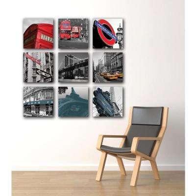 "Nexxt 12 in. x 12 in. ""London"" City 3-Panel Canvas Wall Art Set"