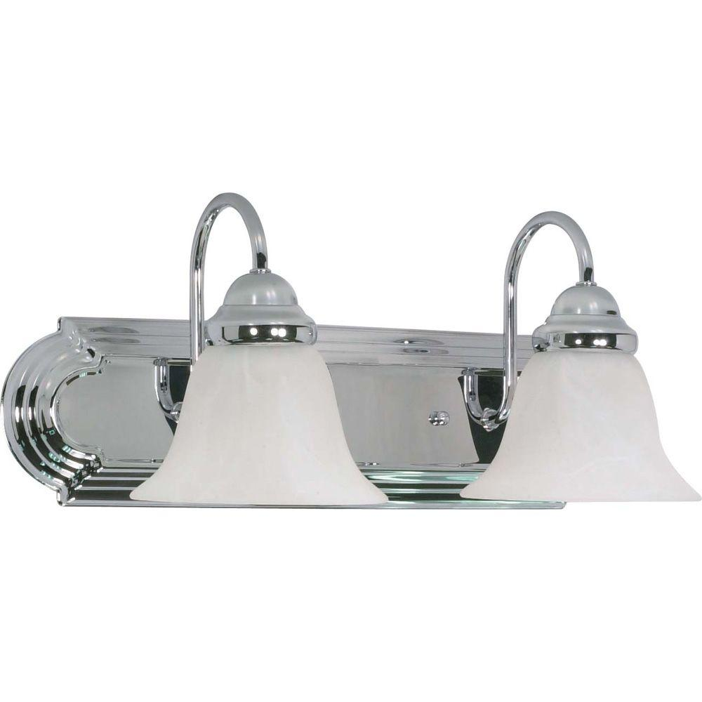 Glomar 2-Light Polished Chrome Vanity Light with Alabaster Glass Bell Shades