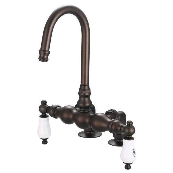2-Handle Deck Mount Claw Foot Tub Faucet with Labeled Porcelain Lever Handles in Oil Rubbed Bronze
