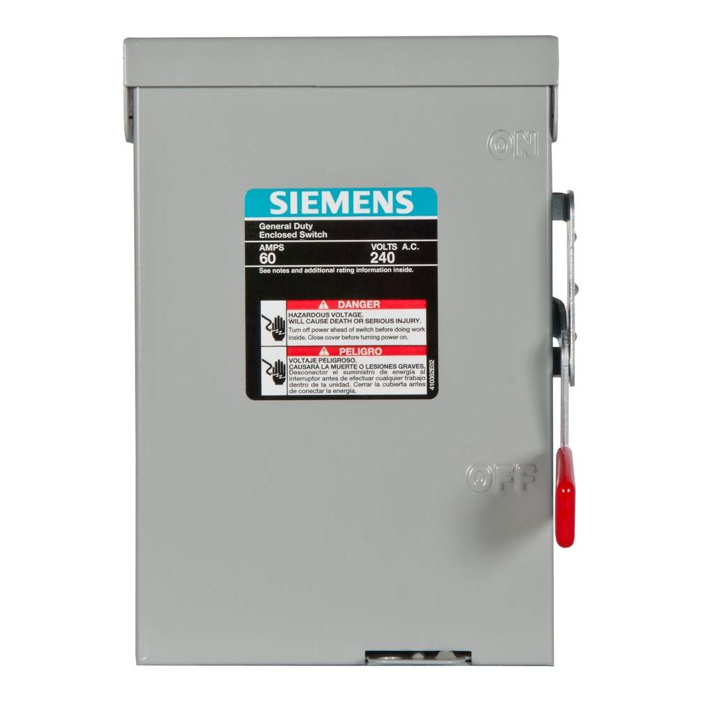 Siemens General Duty 60-Amp 240-Volt Double-Pole Outdoor Non-Fusible