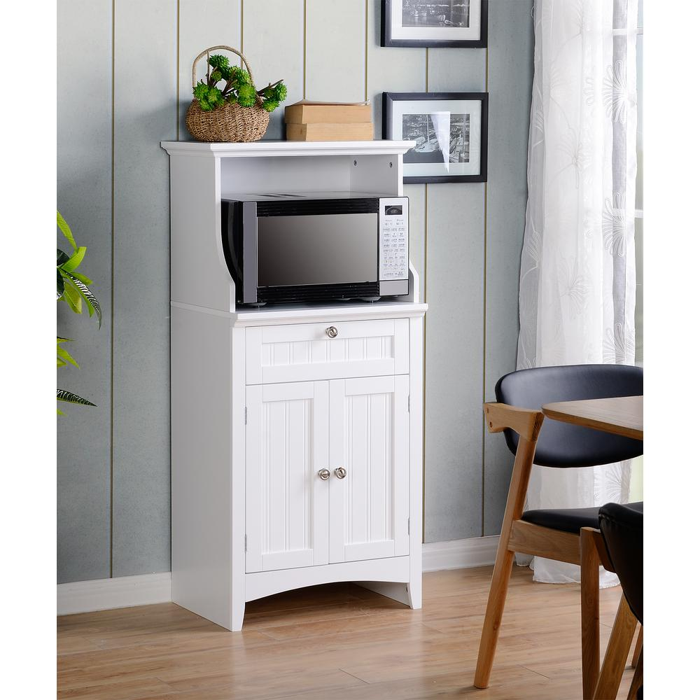 Os Home And Office Furniture White Microwave Coffee Maker Utility Cabinet 1 25503 The Depot