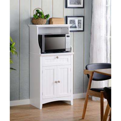 OS Home And Office White Microwave/Coffee Maker Utility Cabinet