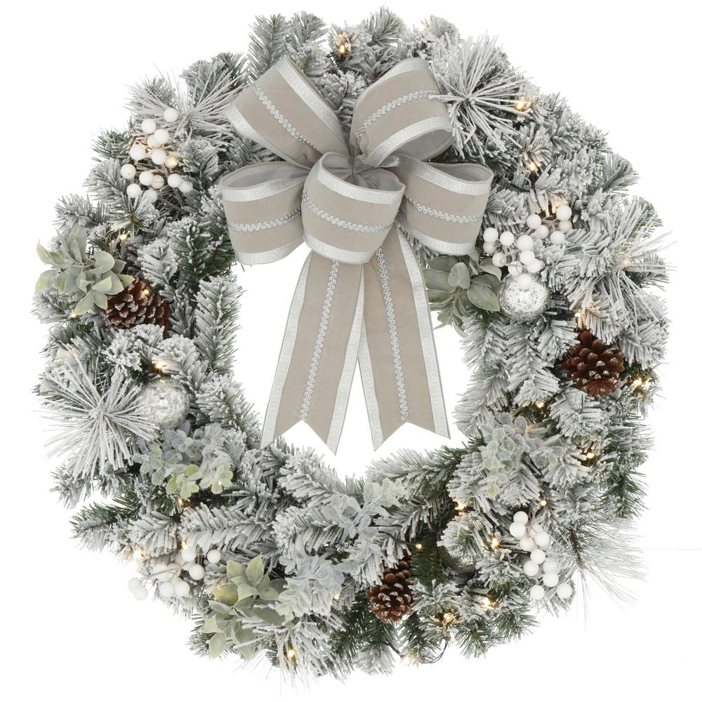 Home Accents Holiday Home Accents Holiday 32 in. Pre-Lit LED Lexington Pine Artificial Christmas Wreath