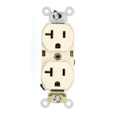 20 Amp Industrial Grade Heavy Duty Self Grounding Duplex Outlet, Light Almond