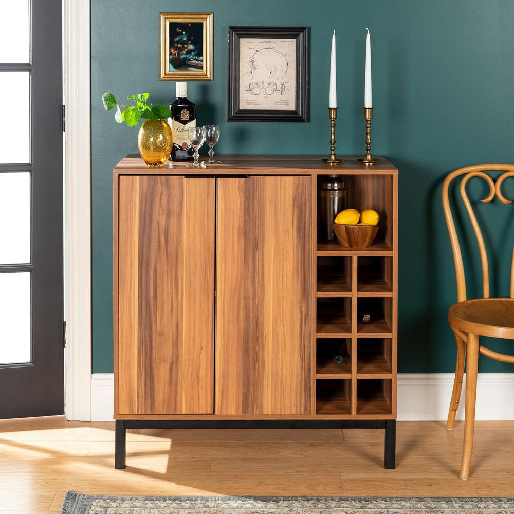 Walker Edison Furniture Company Teak Modern Bar Cabinet With