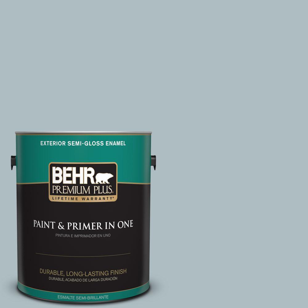 BEHR Premium Plus 1-gal. #PMD-99 Arctic Ocean Semi-Gloss Enamel Exterior Paint