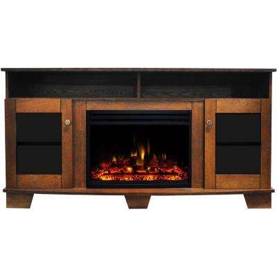Savona 59 in. Electric Fireplace Heater TV Stand in Walnut with Enhanced Log Display and Remote