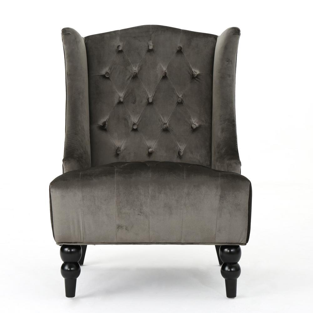 Toddman Grey Velvet Club Chair