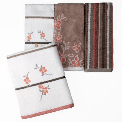 Coral Garden Floral Cotton Hand Towel in Ivory