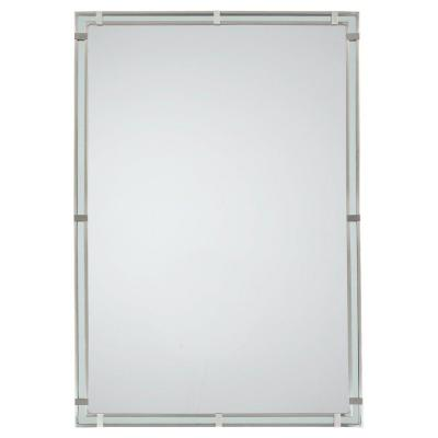 Parker Place 22.375 in. W x 32.5 in. H Rectangle Wall Decor Mirror with Brushed Steel Retro Frame and Extends 1.0625 in.