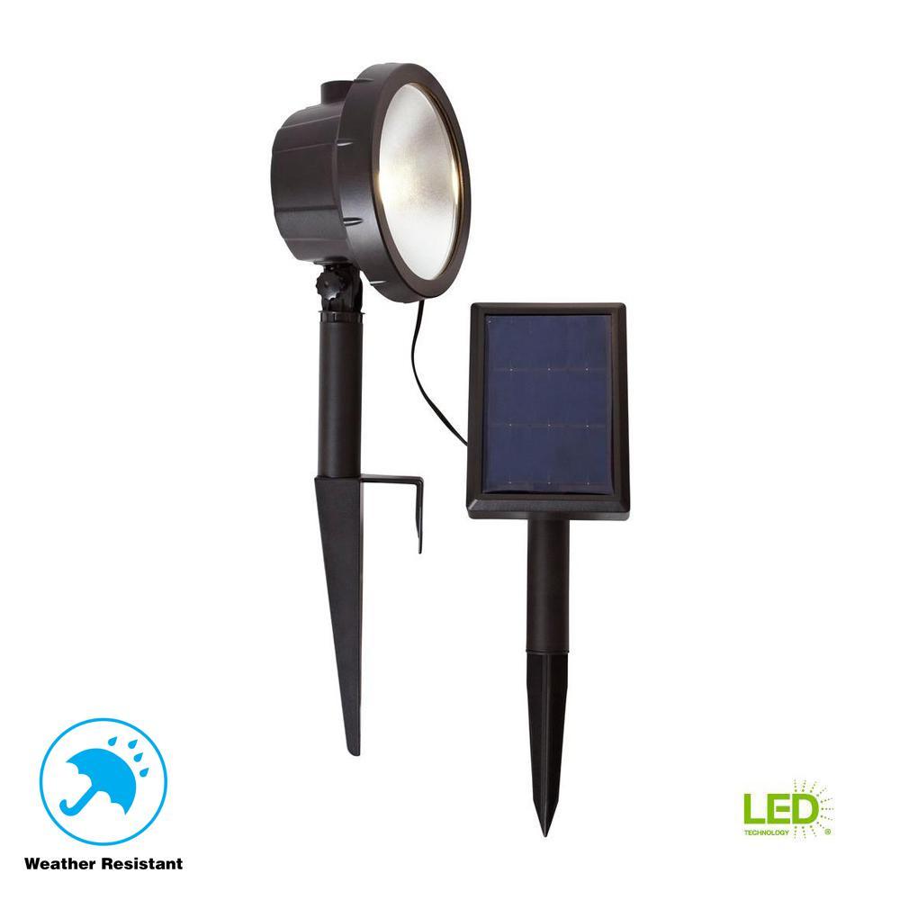 Solar Black Outdoor Integrated LED 3000K 75-Lumens Wall Wash Landscape Light