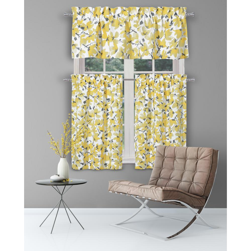 Vera Margery Grey-Yellow Kitchen Curtain Set - 58 in. W x 15 in. L in  (3-Piece)